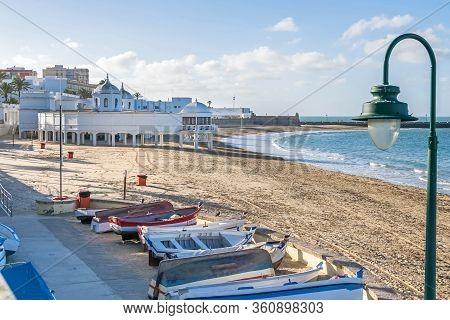 Cadiz, Spain -  November 6, 2019: Beach La Caleta, A Natural Harbor With Historical And Cultural Sig
