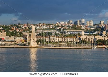 Northern Bank Of The Tagus River With Padrao Dos Descobrimentos (monument Of The Discoveries) And Je