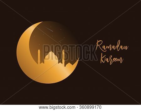 Ramadan Kareem Mosque Night Vector Image Ramadan Kareem Greeting Card, Ramadan Kareem Background. Is