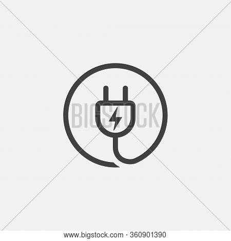 Electric Plug Icons, Electric Plug Sign Icon, Power Energy Symbol, Plug Curve Icon Illustration