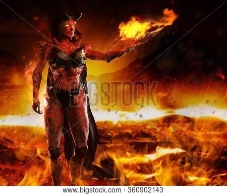 3d Render Illustration Of Hellish Demon Goddess Standing And Casting Fire Spell On Burning Inferno B