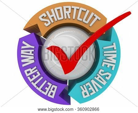 Short Cut Time Saver Better Way Method Shortcut 3d Illustration