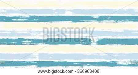 Smeared Watercolor Brush Stripes Seamless Pattern. Blue Paintbrush Lines Horizontal Seamless Texture