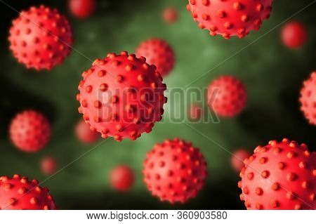 Covid-19 Coronavirus Or Flu Poster, 3d Illustration, Microscopic View Of Sars-cov-2 Corona Virus In
