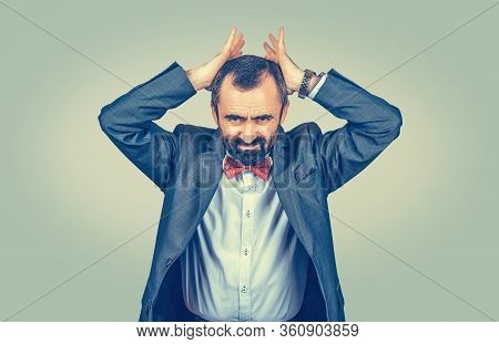 Businessman Holding Hands On Head In Frustration, Stressed Man Upset Frustrated Isolated On Light Gr
