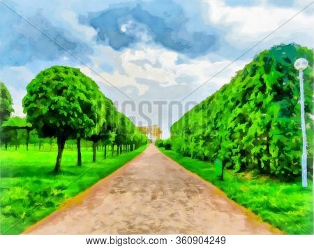 Watercolor Of Urban Landscape, Landscape Park. An Alley Of A Landscape Park, Smooth Rows Of Trimmed