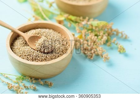 Organic Brown Quinoa Seed With Spoon In A Wooden Bowl And Quinoa Plant On Pastel Color Background, H