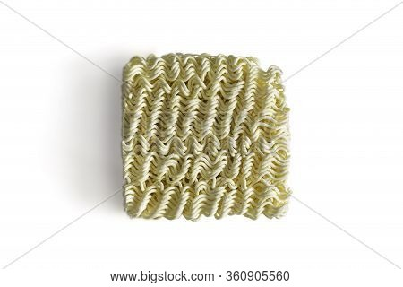 Uncooked Instant Noodle On White Background With Clipping Path And Copy Space. Instant Noodles Is Un