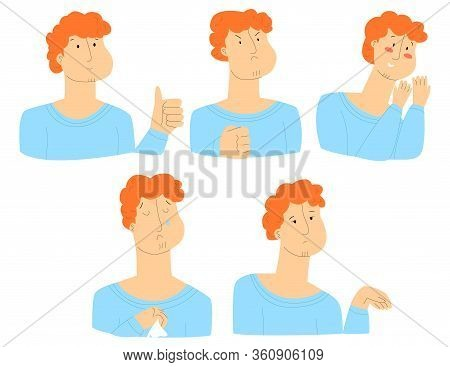 Vector Flat Illustration With Set Of Male Faces. Everyone Has Different Emotions, Namely Support, Ap
