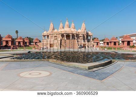 Chino Hills, California/usa - February 7, 2020: The Baps Shri Swaminarayan Mandir, A Hindu Temple Co