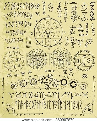 Vector Design Set With Magic Letters, Pentacle, Runes, Zodiac, Seals. Esoteric And Occult Illustrati