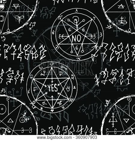Seamless Pattern With Alchemy Secret Signs And Magic Seals On Black. Esoteric And Occult Illustratio