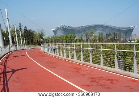 Chengdu, Sichuan Province, China - March 31, 2020 : Chengdu South Greenway With Century City Global