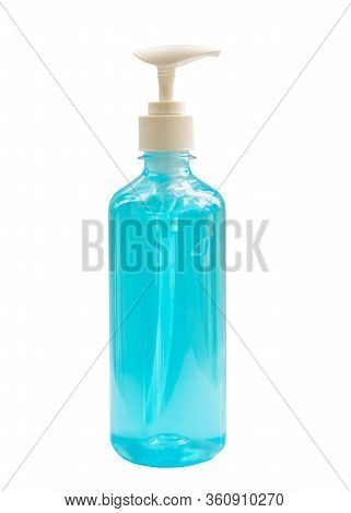 Close Up Blue Alcohol Gel Onnwhite Background With Protecting Coronavirus And Covid-19 Concept.