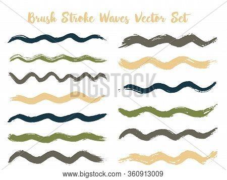 Retro Brush Stroke Waves Vector Set. Hand Drawn Green Brushstrokes, Ink Splashes, Watercolor Splats,