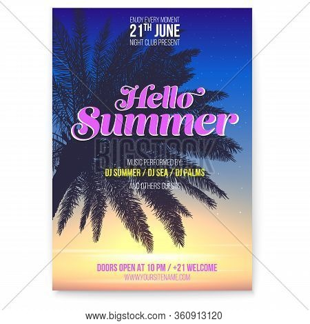 Tropical Beach Party Flyer. Hello Summer. Beach Party Events On Vacation. Palm And Sunset Sky On Sun