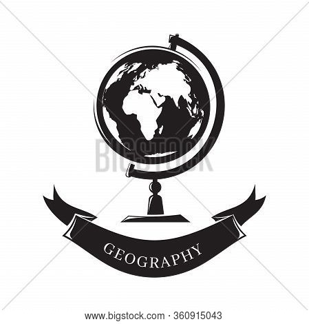 Black And White Icon Science Geography. Geography Concept Design With Globe. Creative Sign From Educ