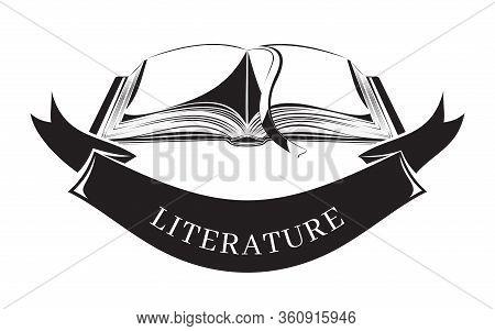 Black And White Vector Icon Literature. Banner Concept Design. Open Book. Vector Illustration