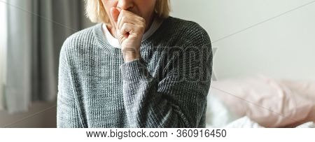 Sick Senior Adult Elderly Asia Women Feeling Unwell Coughing With Sore Throat.healthcare And Medicin