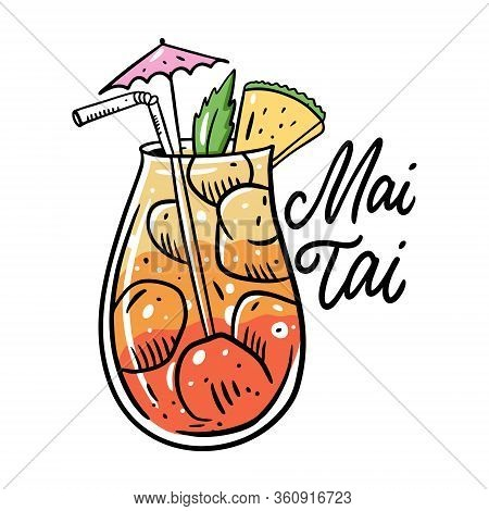 Mai Tai Summer Cocktail. Flat Style. Colorful Cartoon Vector Illustration. Isolated On White Backgro
