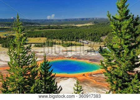 Aerial View Of Grand Prismatic Spring In Midway Geyser Basin, Yellowstone National Park, Wyoming, Us