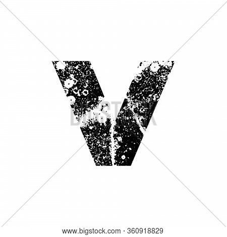 Painted Letter V. Grunge Alphabet Font. Abstract Handmade Sans Serif Typeface. Distress Textured Abc