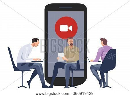 Meeting Online Video Call Company Meeting With Team Together Smartphone