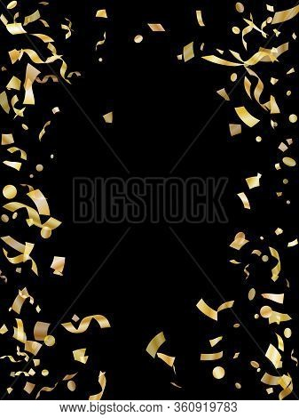Gold On Black Foil Holiday Realistic Confetti Flying Vector Background. Rich Flying Tinsels, Foil Te
