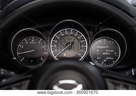 Novosibirsk/ Russia - February 23, 2020: Mazda Cx-5, Round Speedometer, Odometer With A Range Of 3 T