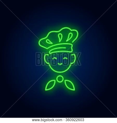 Kid Wearing Chief Cook Hat Neon Sign. Cooking, Restaurant Advertising Design. Night Bright Neon Sign