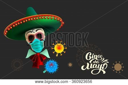 Cinco De Mayo Skull In Sombrero On Black Background Text Template Greeting Card. Vector Cartoon Illu