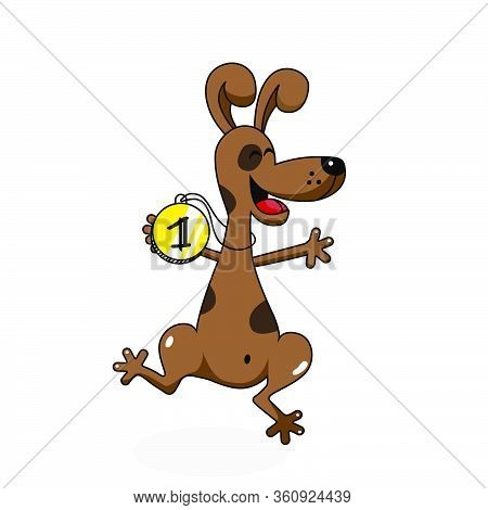 Funny Dog Jumping With Pleasure And Joy - Cartoon Character- Vector Illustration