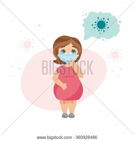 Young Pregnant Woman Wearing Medical Mask, Thinking And Worrying About Coronavirus Infection. Virus
