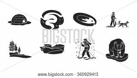 Alaska Vector Black Set.vector Illustration Of North Eskimo And Ice Arctic Inuit Igloo .north Alaska