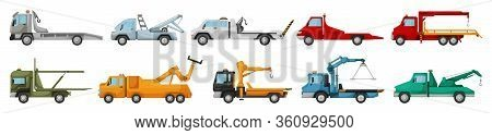 Truck Tow Isolated Cartoon Set Icon. Vector Illustration Evacuator On White Background. Vector Carto