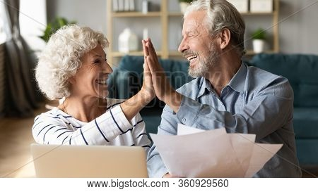 Excited Older Couple Giving High Five, Celebrating Good News