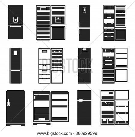 Fridge Vector Black Illustration.kitchen Refrigerator Vector Icon.isolated Black Set Of Modern Fridg