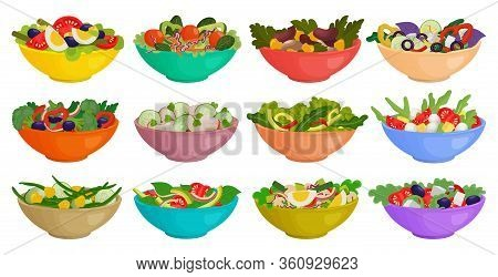 Vegetable Salad Isolated Cartoon Set Icon. Cartoon Vector Set Icon Bowl Lettuce. Vector Illustration