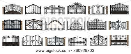 Fence Gate Isolated Cartoon Set Icon. Vector Cartoon Set Icon Metal Entrance. Vector Illustration Fe