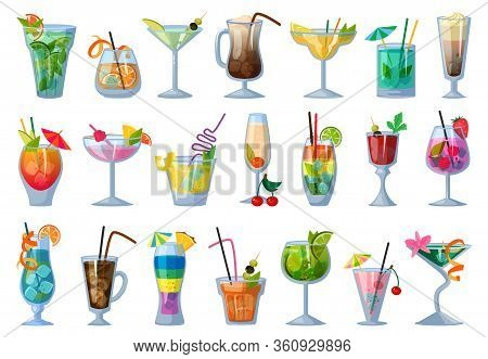 Summer Cocktail Vector Illustration On White Background. Vector Cartoon Set Icon Fresh Drink . Isola