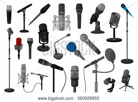 Microphone Vector Illustration On White Background. Vector Cartoon Set Icon Music Mic. Isolated Cart