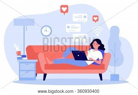 Beautiful Woman Relaxing At Sofa With Laptop Computer Flat Vector Illustration. Young Girl Staying A