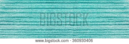 Light Teal Colored Foil Texture. Widescreen Blue Metallic Background