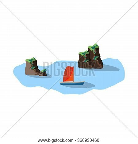 Vector Design Of Rock And Bay Logo. Collection Of Rock And Vietnamese Stock Symbol For Web.