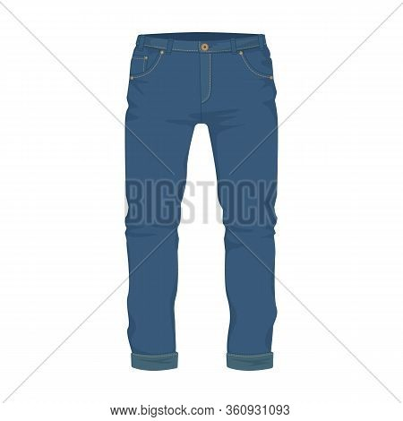 Jeans Vector Icon.cartoon Vector Icon Isolated On White Background Jeans.