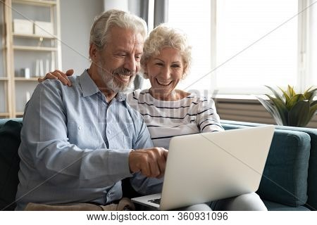 Excited Older Couple Reading Good News, Using Laptop Together