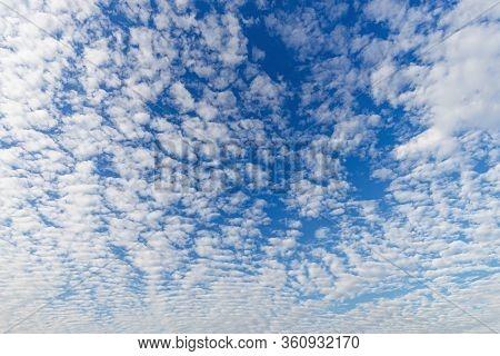 Cloudscape With Altocumulus Clouds, Altocumulus Middle-altitude Cloud In Stratocumuliform - Natural