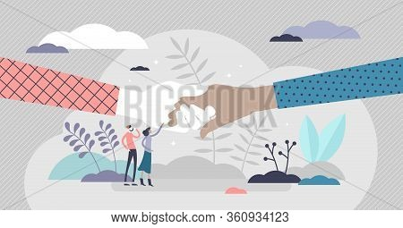 People Help Vector Illustration. Holding Hands As Support Symbol In Flat Tiny Persons Concept. Socie