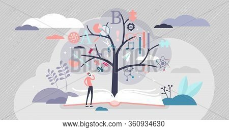 Education Tree Vector Illustration. Abstract Knowledge Plant Growth From Book In Flat Tiny Persons C