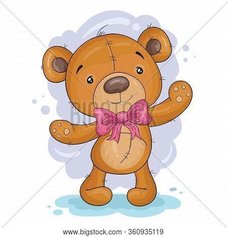 Cute Cartoon Teddy Bear. Vector Print. Good For Greeting Cards, Invitations, Decoration, Print For B
